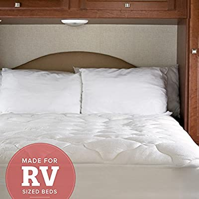 eLuxurySupply Camper Mattress Pad - Extra Plush Bamboo Topper with Fitted Skirt - Made in the USA - Hypoallergenic - Mattress Cover for RV