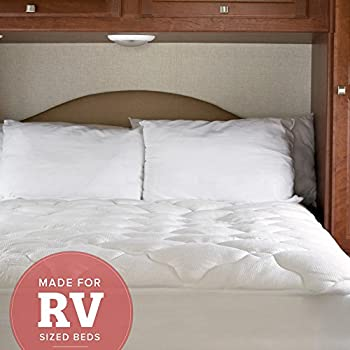 RV Mattress Pad - Extra Plush Bamboo Topper with Fitted Skirt - Made in the USA - Hypoallergenic - Mattress Cover for RV, Camper - RV Full/Three Quarter