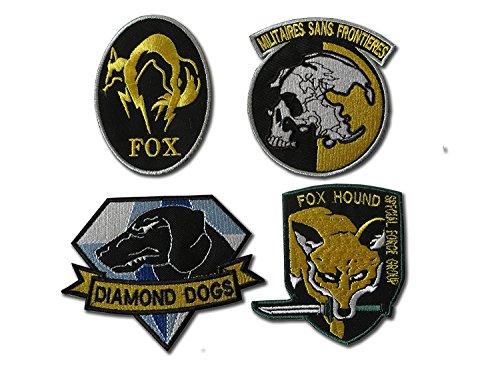 Onekool Metal Gear Solid Cosplay Airsoft IRON ON PATCH SET, 4 Embroidered (Seat Belt Outer Set)