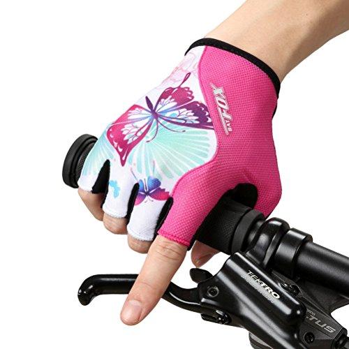 Transpirable Dushow Mujer carreras Antideslizante Ciclismo prueba de a Gel Manoplas Monta de carretera Medio a rosado dedo golpes de ciclismo Guante de Guantes Zgpdnrqg