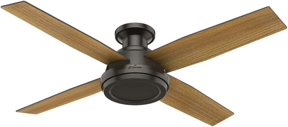 Hunter 59449 Dempsey Low Profile 52 Ceiling Fan with Handheld Remote, Large, Noble Bronze
