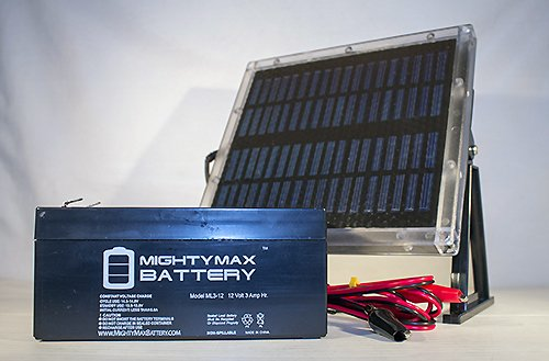 12V 3AH Replacement for GP1233A + 12V Solar Panel Charger - Mighty Max Battery brand product by Mighty Max Battery