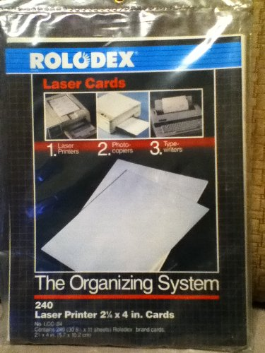 "Rolodex Laser Cards-240 2 1/4 x 4"" Cards"