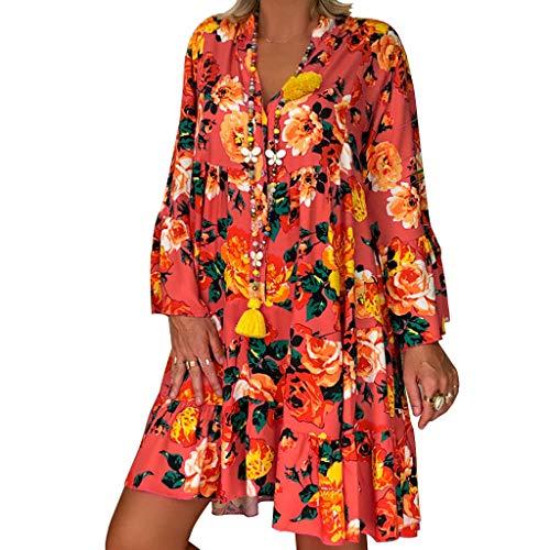 Women's Long Sleeve Round Neck Casual Floral Printed T Shirt Dress Loose Mini Dress Summer Dress (Orange, - Long Show Elegance Sleeve Shirt