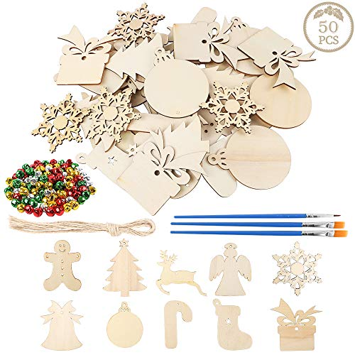 AGEOMET 50pcs Christmas Wooden Ornaments Unfinished Wood Slices 10 Shapes Craft Wood Kit for Crafts Christmas Ornaments Hanging Decoration with 100 Bells 3 Pens 50 Twines (Make To For Kids Christmas Ornaments Homemade)