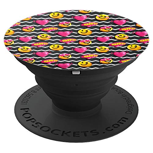 (Cute Emoji Happy Smiley Face Heart Eyes Pink Hearts ZigZags - PopSockets Grip and Stand for Phones and Tablets)