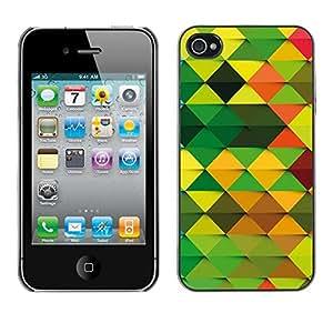 TECHCASE**Cubierta de la caja de protección la piel dura para el ** Apple iPhone 4 / 4S ** Wallpaper Pattern Random Green Brown Orange