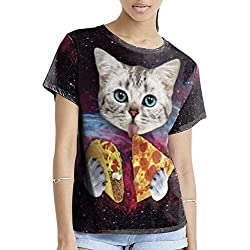 QZUnique Women's Summer Fashion Cat Digital Printed Round Collar T-shirt US S