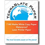 TerraSlate Copy Paper Waterproof Laser Printer, Rain Weatherproof, 7 MIL, 8.5x11-inch, 50 Sheets