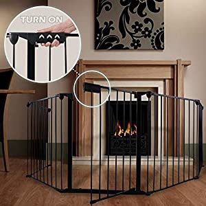 "GOGODUCKS Fireplace Fence Baby Safety Fence Hearth Gate Multi-Functional Metal Fence with Door Includes 5 Panels 30"" High Black 72"
