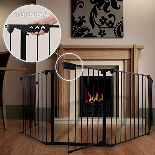 """Price comparison product image GOGODUCKS Fireplace Fence Baby Safety Fence Hearth Gate Multi-Functional Metal Fence with Door Includes 5 Panels 30"""" High Black"""