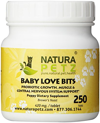 Natura Petz Baby Love Bits Probiotic Growth, Muscle and Central Nervous System Support for Puppies, 250 Tablets, 420mg Per ()