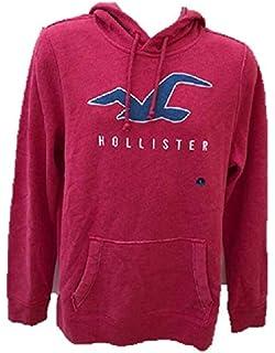 a711f3470 Hollister Men's Patterned Icon Hoodie Fleece Sweatshirt Hoody, Red Size  Small/S