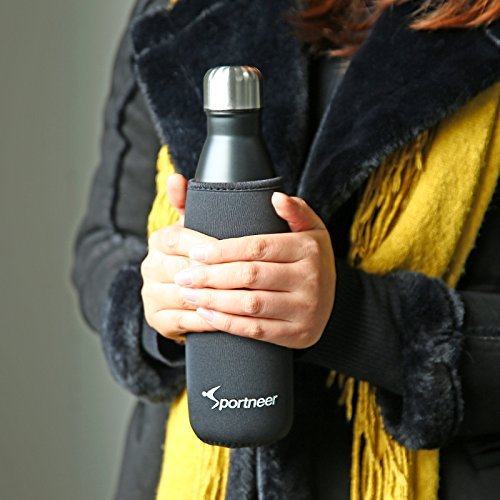 Sportneer 17oz Double Wall Vacuum Insulated Stainless Steel Water Bottle, BONUS A Cleaning Brush & A Bottle Cover, Black by Sportneer (Image #10)