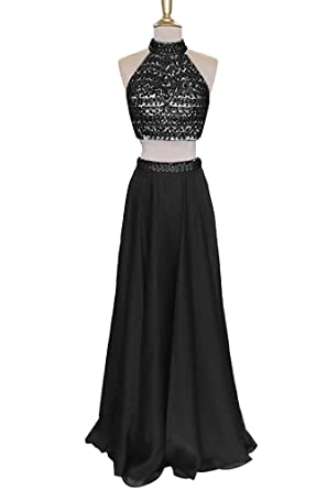 NANIYA Womens 2 Piece Prom Dresses Beaded High Neck Keyhole Homecoming Gowns