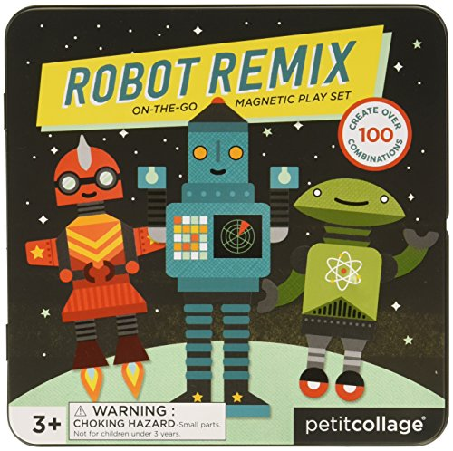 Petit Collage Mix and Match Magnetic Tin Robots 1yr Robot