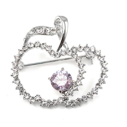 Crystal Silver Swarovski Apple Plated (Glamorousky Elegant Apple Brooch with Silver and Purple Austrian Element Crystals (400))