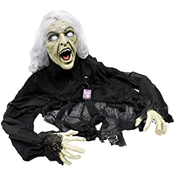 halloween haunters 5 animated creepy crawling evil zombie witch prop decoration head turns