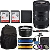 Sigma 18-35mm F1.8 DC HSM Lens for Canon APS-C DSLRs 210101 (Black) + Backpack + 32GB Memory Card + 16GB Memory Card + Telephoto Lens + Tripod + UV Filter Kit + Top Value Accessory Bundle