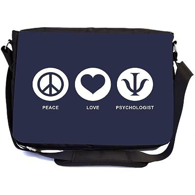 Rikki Knight Peace Love Psychologist Blue Color Design Multifunction Messenger Bag - School Bag - Laptop Bag - with padded insert for School or Work - includes Pencil Case