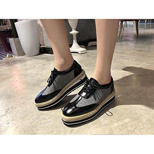 Black Sujeción Tela De con Correa A0922 escocesa Mujeres Plataforma KJJDE Zapatos WSXY Retro F4fqxwUx7