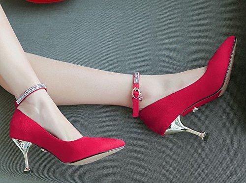 Rouge heel Aiguille Escarpins Easemax Talon Strass Kitten Femme Sexy Xwxwt0qv8