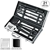 Image of Slashome 21 Pieces BBQ Grill Tools Set Heavy Duty Stainless Steel Barbecue Grilling Utensils Include Non-stick Grill Mats Barbecue Accessories - with Aluminium Storage Case