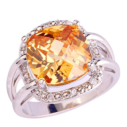 Narica Womens Cushion Cut Morganite Cubic Zirconia CZ Cocktail Ring