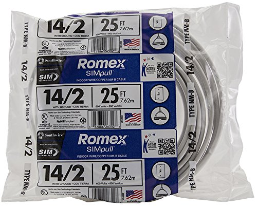 Southwire 28827421 25' 14/2 with ground Romex brand SIMpull residential indoor electrical wire type NM-B, ()