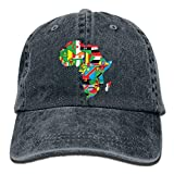 Anotolate Noe Map of Africa with Flags Dad Hat Women Men Cute Adjustable Cotton Floral Baseball Cap
