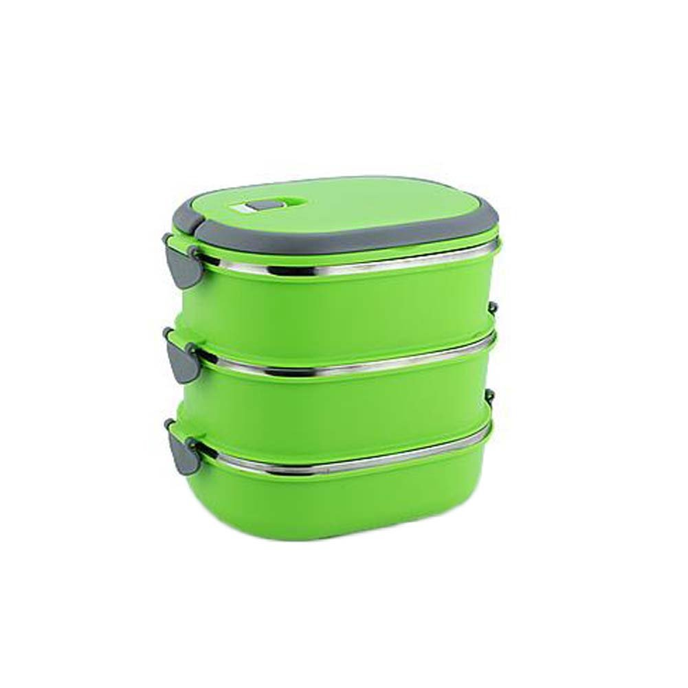 BRUIO Stainless Steel Three-layer Lunch Box Portable Snack Food Lunch Containers for Kids Adults in Random Color,1PC