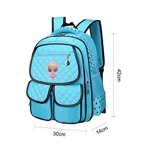 NAITUO Mädchen Rucksack Kinder Rucksack Schulrucksäcke Schultasche Daypacks Grundschule Backpack 42*30*14 CM Blau cb01ugryhh