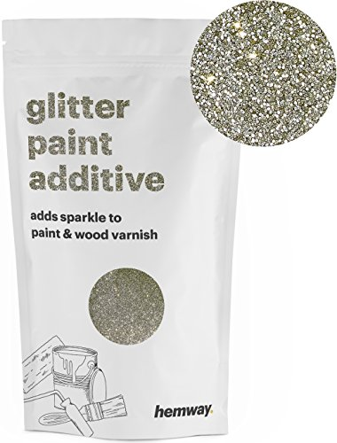 Hemway (Sand Gold) Glitter Paint Additive Crystals 100g/3.5oz for Acrylic Latex Emulsion Paint - Interior Exterior Wall, Ceiling, Wood, Varnish, Dead flat, Matte, Gloss, Satin, Silk (Exterior Paint Latex Flat House)