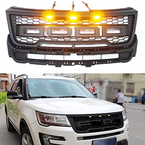 YouVbeen 2016-2018 for Ford Explorer Grill Raptor Style Grille Front Bumper Honeycomb Hood Grill LED Light with FR Letters 3 Amber Led Light-Matte Black