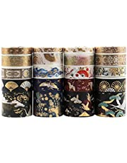 Dizdkizd 20 Rolls Washi Tape Set, Hot Stamping Decorative Washi Masking Tape for DIY, Gift Wrapping, Bullet Journals and Planners