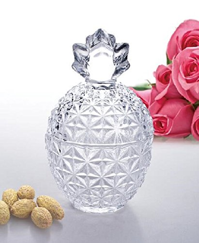 Candy Collection - PARS COLLECTIONS New 2018 Candy/Snack Rose Star Design Glass Covered Storage Jar, Candy Dish Box