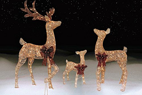 3 piece pre lit outdoor lighted reindeer family champagne gold lawn decoration set