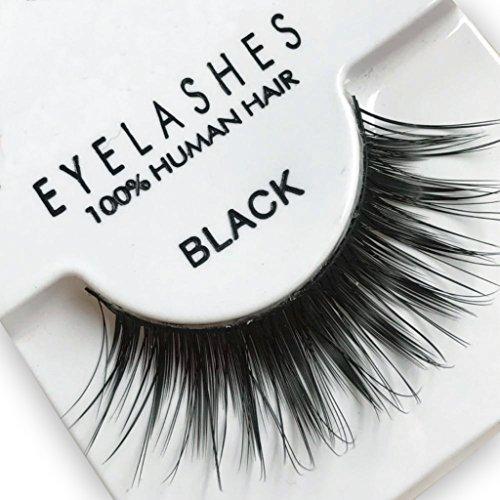 False Eyelashes Professional Faux Eyelash 100% Human Hair #605 (Black) 4 PAIRS (2 each - Real False Eyelashes Hair