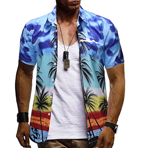 (YY1950s Men's Spring and Summer Casual Fashion Buttons Hawaiian Style Coconut Tree Print Pattern Beach Short Sleeve Breathable Comfort Quick-Drying Set Tops and Shorts Two-Piece Set (Blue, L2))