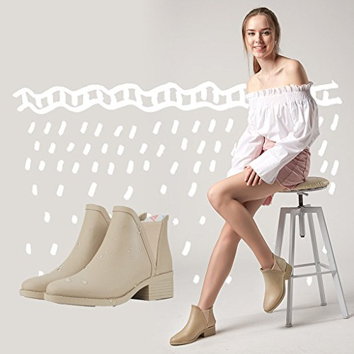 Matte Lady Brown Chelsea Adult Anti Day Boots Short Waterproof For Shoes Rubber Rain sunny Tube Rain slip w5CqAaxCX