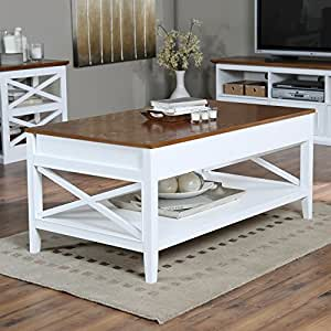 Belham Living Hampton Lift Top Coffee Table White Oak Kitchen Dining