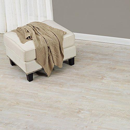 [neu.haus] Laminat Vinyl-Boden Eiche weiss 1m² - PVC-Design-Bodenbelag mit gefühlsechter Holz-Struktur stark strukturiert Planken zum Kleben - 4 Dekor Dielen = 1,114 qm