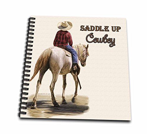 3dRose Saddle Up Cowboy Western Theme Painting - Memory Book, 12 by 12-Inch (db_52253_2)