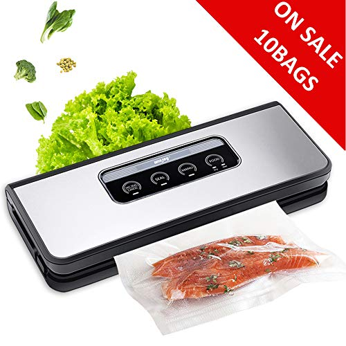 Vacuum Sealer Machine, Winjoy Automatic Food Sealer for Food Savers w/Starter Kit|Touch Pannel and LCD Display|Dry & Moist Food Modes| Compact Design (Silver) (Food Sealer Savers)