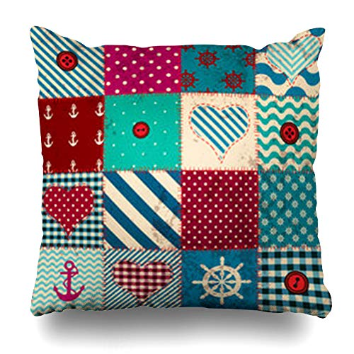 Decor Champ Throw Pillow Covers Grunge Patchwork Nautical Nau Style Quilt Seam Home Decor Sofa Pillowcase Square Size 20 x 20 Inches Cushion Cases