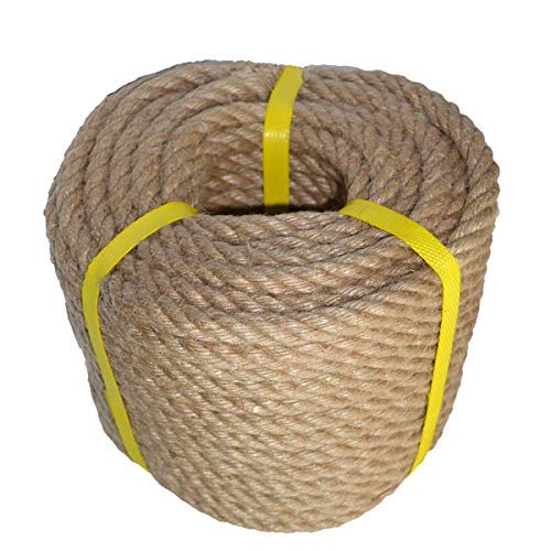 - 100% Natural Strong Jute Rope 100 Feet 12mm 4 Ply Hemp Rope All Purpose Cord for Crafts, Sporting, Landscaping & Décor. Ideal for Nautical Knots, Wedding décor, Hanging Flower Baskets
