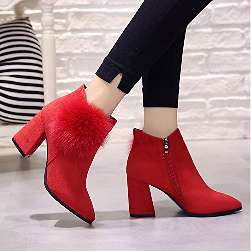 Round PU Shoes Comfort ZHZNVX Toe Boots Calf High for Boots Winter Women's Black Red Outdoor Mid Black Heel HSXZ tEwEqAz