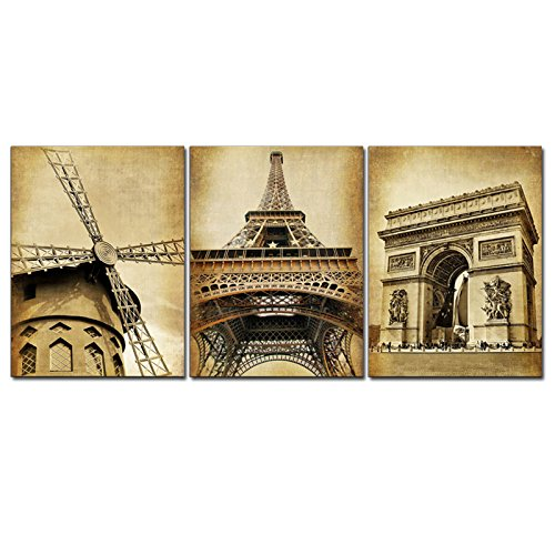 Pyradecor Famous Architecture Canvas Prints Wall Art Paris City Building Pictures Paintings for Living Room Bedroom Home Decorations Modern 3 Piece Stretched and Framed Giclee Landscape Artwork (Art Deco Print Canvas)