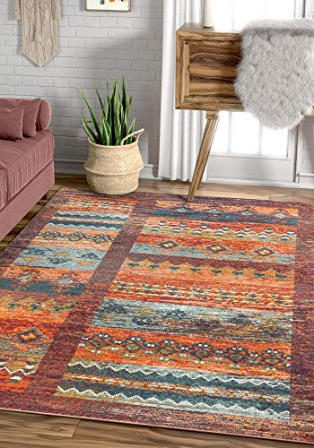 Well Woven Rafael Multi Red Tribal Patchwork Pattern Area Rug 5x7 (5'3