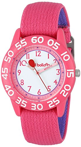 """Red Balloon Kids' W001895 """"Time Teacher"""" Plastic Watch with Adjustable Pink Nylon Strap"""